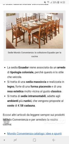 Sedie legno coloniali