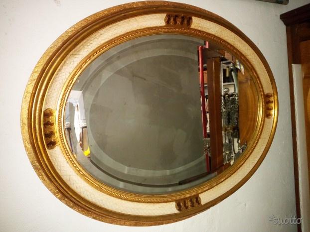 Specchio ovale legno dorato stile impero posot class - Specchio dorato antico ...
