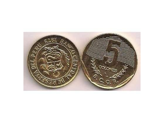 5 colones b.c.c.r. reserva del peru  in oro 24.kt