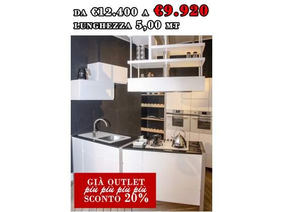 Cucina linea MONDRIAN L260 + L240xP65 interamente in legno