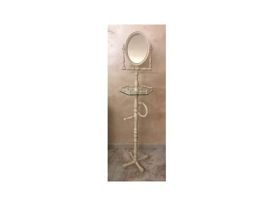 Piantana con specchiera da bagno
