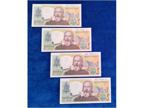 4 banconote  lire galilei in FDS consecutive