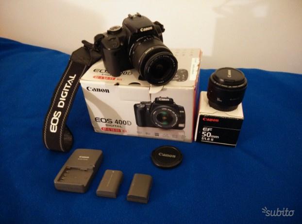 Canon 400d + obiettivi  e 50 mm + 2 batterie