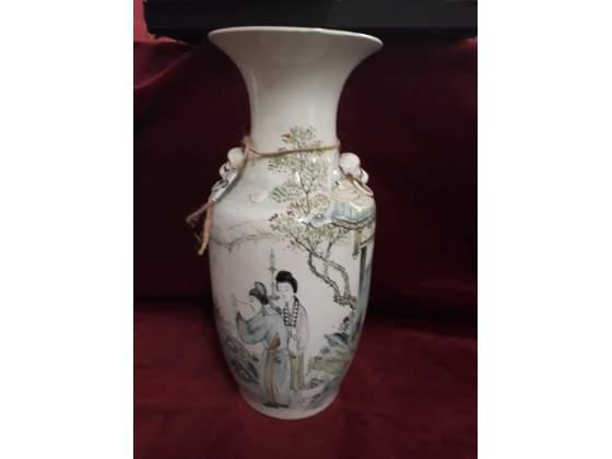 300 - vaso in ceramica dipinta - orientale / cina - 42 cm