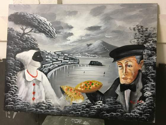 Quadri dipinti veduta napoli con totò e pulcinella
