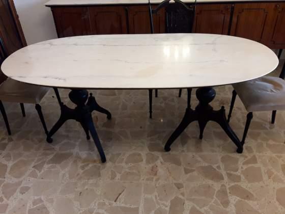Tavolo di marmo - Vetrina in marmo e legno - Settimino