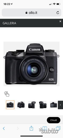Canon eos M5 + 3 obiettivi serie M+ adattatoreEF/M