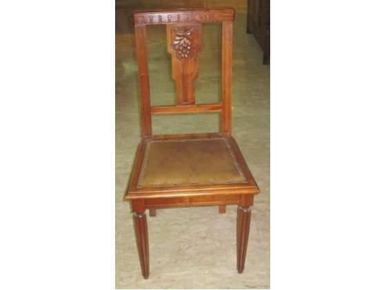 4 sedie in noce massello anni '20 tappezzeria originale