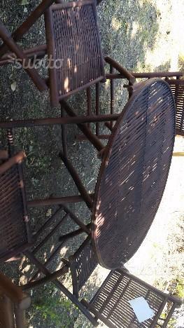 Set tavolo in bambù con 4 sedie in bambù