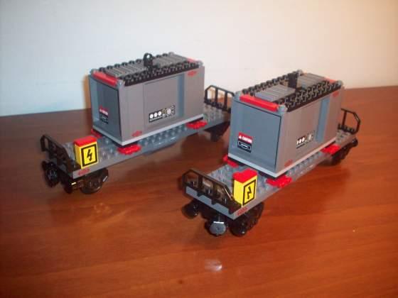 Lego treno merci 2 vagoni con 2 container