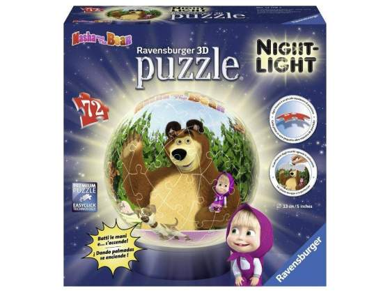 Ravensburger  - Lampada notturna puzzle 3D Mashe e Orso
