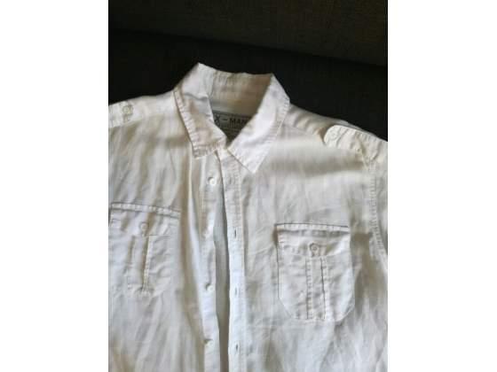 Camicia bianca maniche corte misto lino - - CAMICIAUOMO