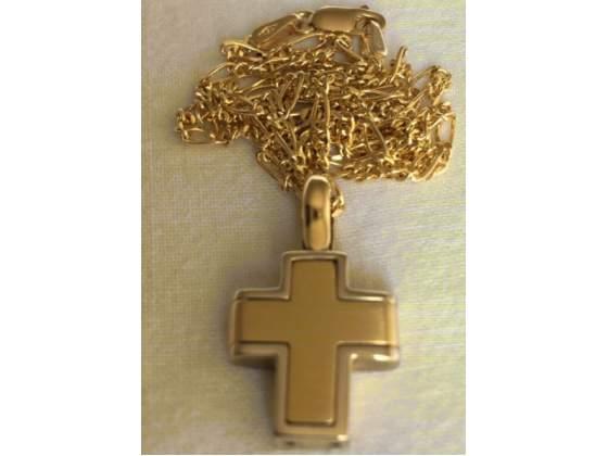 Collana croce da uomo in oro giallo  kt