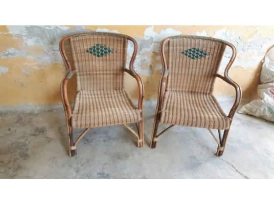Coppia di sedie in vimini anni 60
