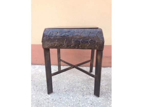 Tavolino in ferro battuto e vetro fumè