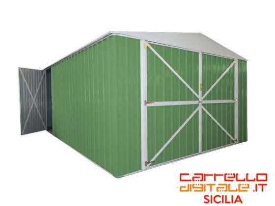 Box usato da cantiere edile in lamiera ct posot class for Box garage lamiera