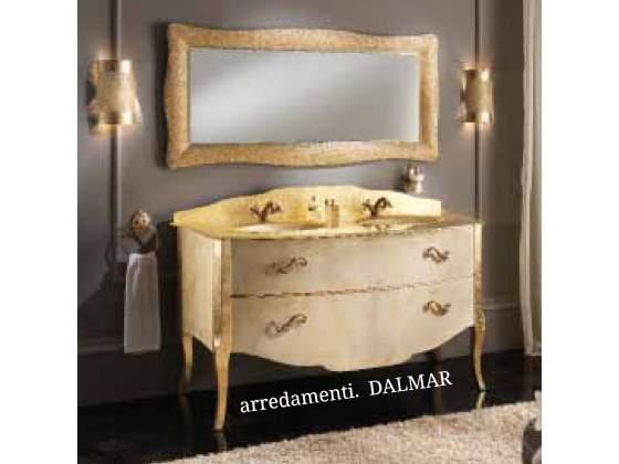 Bagno barocco doppio lavabo cristallo fuso oro | Posot Class