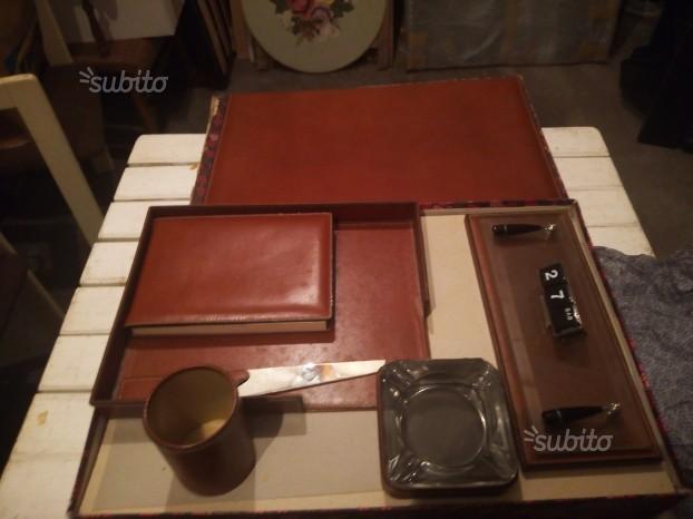 Set in pelle per scrivania,tipologia vintage
