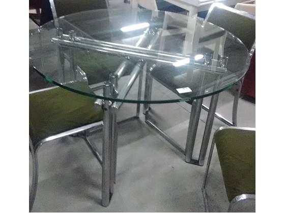 Tavolo tondo in acciaio e vetro diametro cm 105 posot class for Tavolo tondo estensibile
