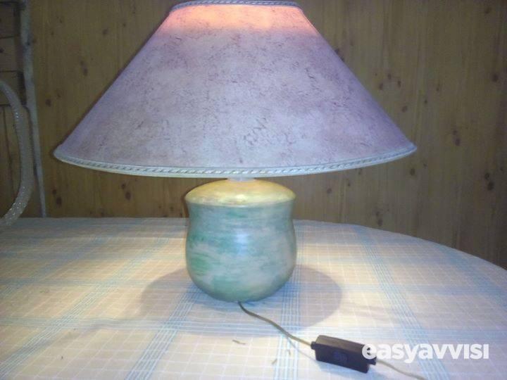 Abat jour medio da tavola con supporto di ceramica,