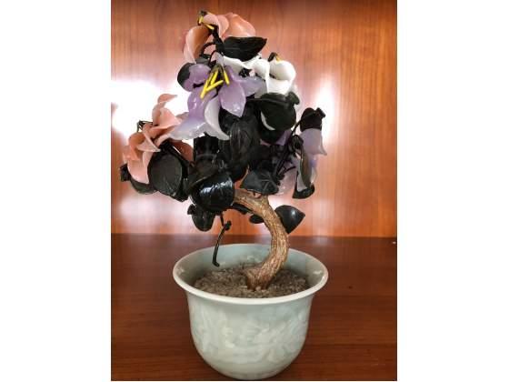 Antichità grande Bonsai cinese pietre preziose