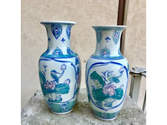 Coppia vaso vintage cinese porcellana anni 90
