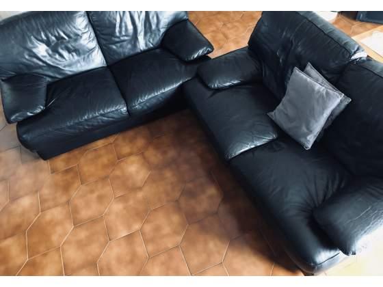 Due divani in fior di pelle nera Chataeu Dâ€(TM)Ax