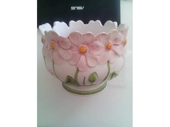 Porta vaso in ceramica dipinta a mano