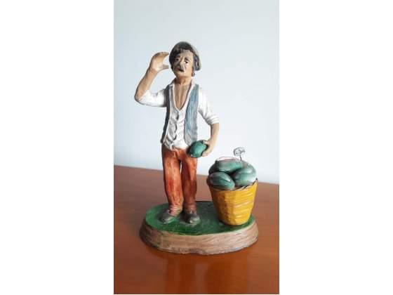 Statua in terracotta siciliana dipinta a mano Caltagirone