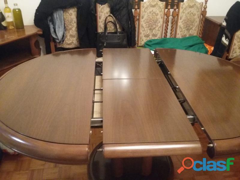 Tavolo sala da pranzo allungabile, legno massello con 6