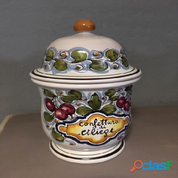 Vaso confettura in ceramica decorata a mano con tappo