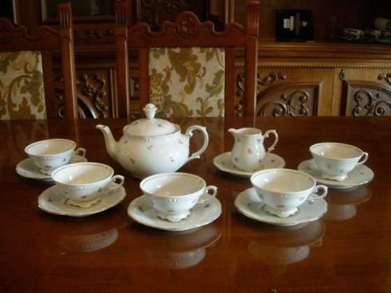 5 tazze the porcellana triptis con theiera e zuccheriera