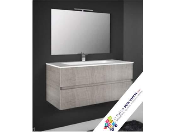 """Mobile bagno """"splash"""" rovere + lavabo + specchio illuminato"""