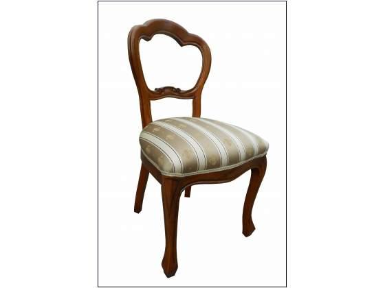 Sedia classica con seduta in stoffa e gamba mossa