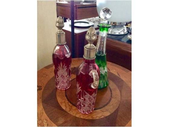 Set 3 bottiglie cristallo colorate