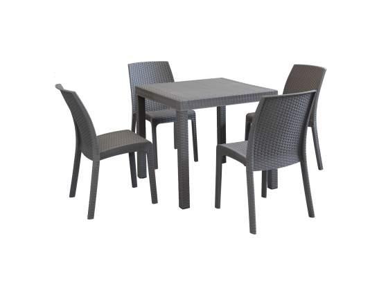 Set tavolo da giardino quadrato fisso cm 80 x 80 con 4 sedie