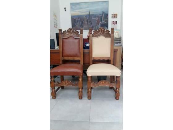 4 sedie d'epoca anni 60 tappezzate in pelle