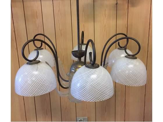 Lampadario tipo Venini ottone vetro 6 luci anni 50