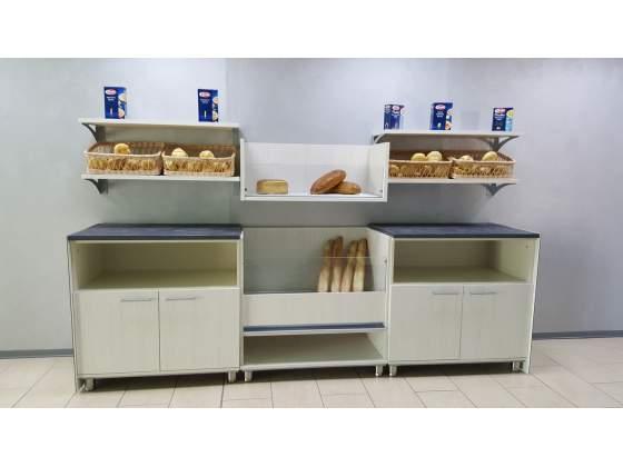Retrobanco pane da 3 mt. con mobile pane e mobili a giorno