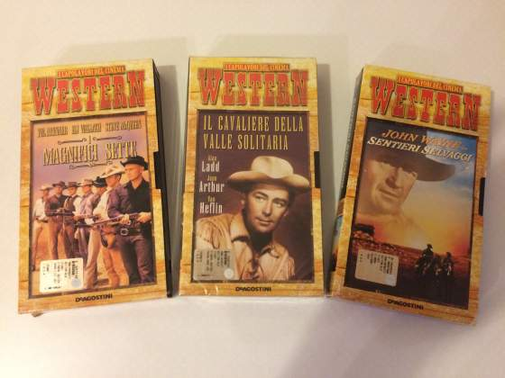 "Lotto 3 Vhs Film Collana ""I Capolavori Del Cinema Western"""