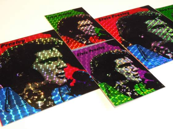 3 Adesivi prismatici ELVIS PRESLEY anni 80 BOB DYLAN