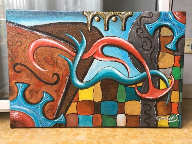 DIPINTO OLIO SU TELA COLORATO FANTASY MODERN ART