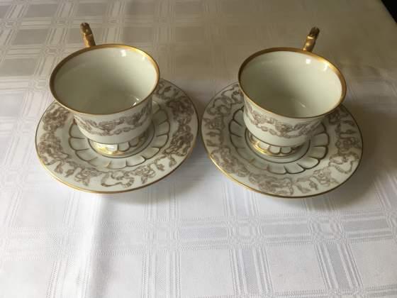 Tazze da the decorate a mano, porcellana, oro