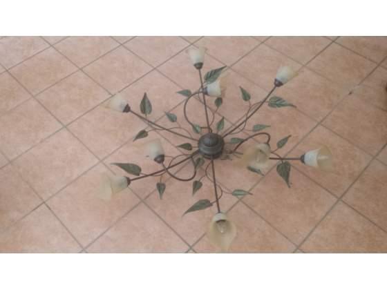 Lampadario da soffitto a 9 luci in ferro battuto
