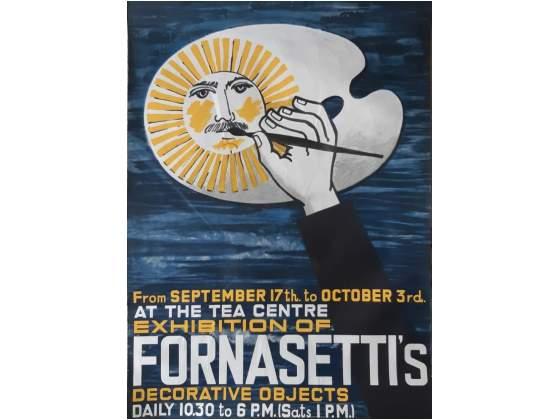 Locandina mostra Fornasetti a Londra