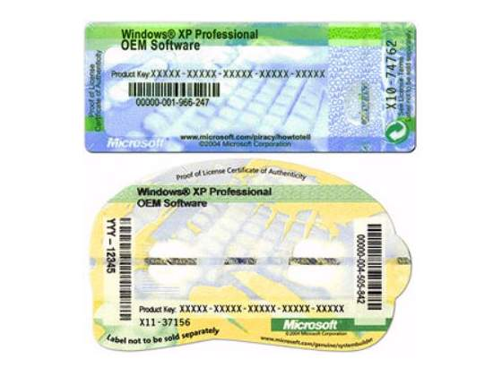Windows XP Licenza originale etichetta COA (manuale