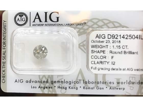 Diamante 1.15 carati F color I2 clarity