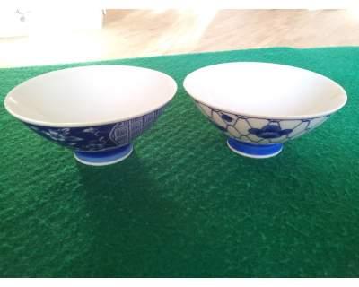 2 RAFFINATISSIME Ciotole porcellana fine bianca e blu
