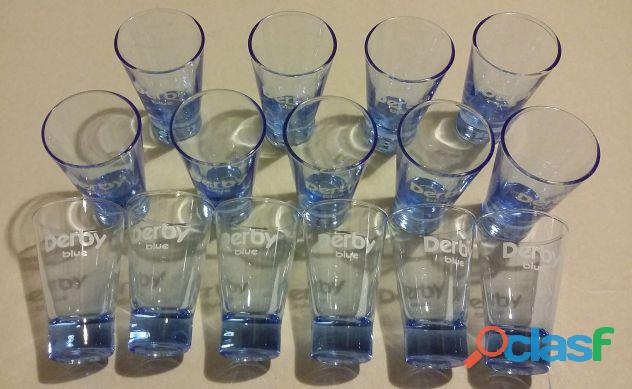 SET 15 BICCHIERI DERBY BLUE IN VETRO TRASPARENTE BLU NUOVO