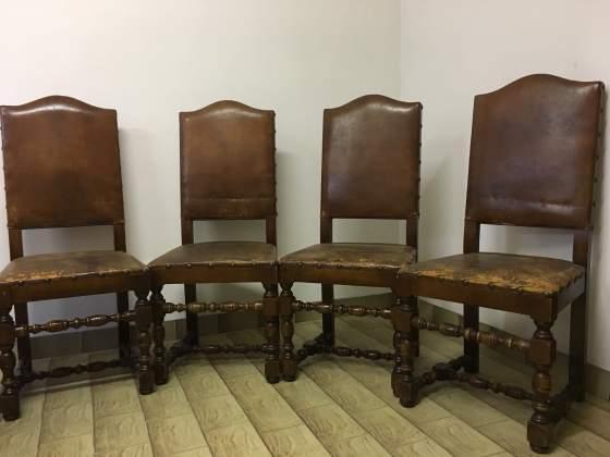 6 sedie in legno e pelle